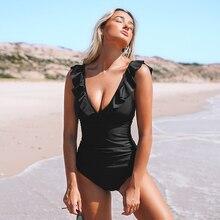 Monokini Swimwear Bathing-Suits CUPSHE Lace-Up Ruffled Black Girl Women Beach New Solid