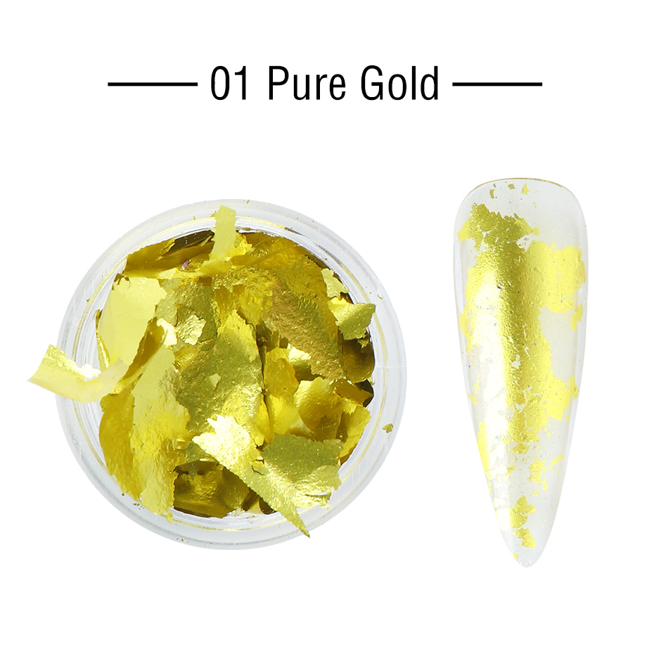 1 Box Gold Glitter Flakes Irregular Aluminum Foil Sequins For Nails Chrome Powder Winter Manicure Nail Art Decorations LY1858-1 29