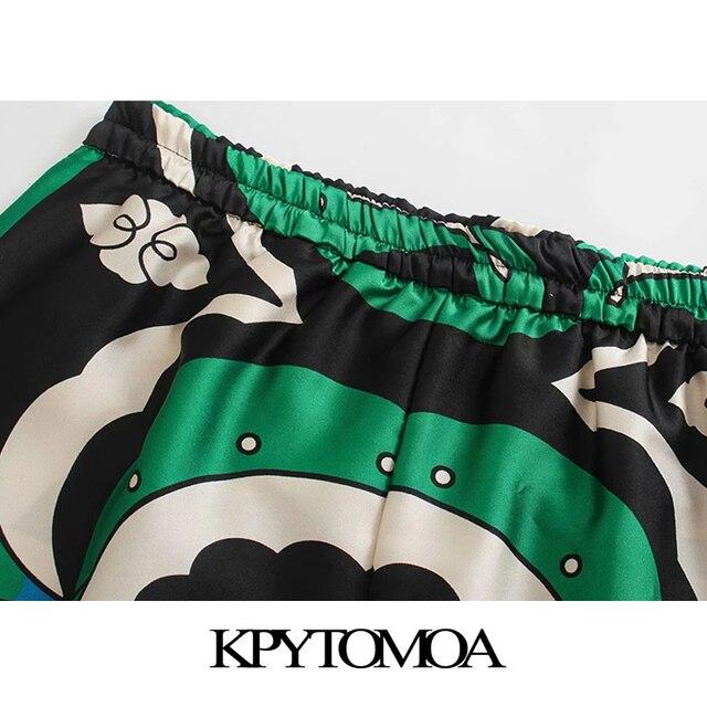 KPYTOMOA Women 2021 Fashion Side Pockets Printed Bermuda Shorts Vintage High Elastic Waist Side Vents Female Short Pants Mujer 5