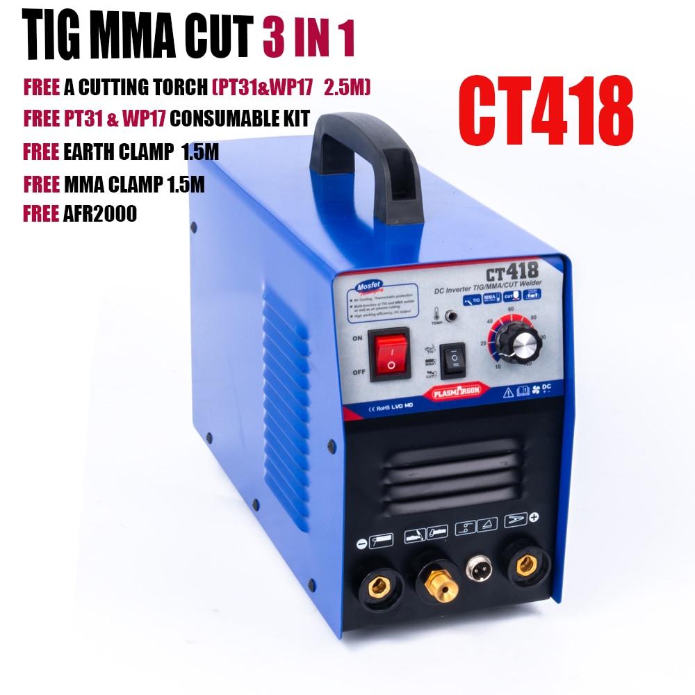 Plasmargon 110/220V MMA,TIG,CUT,3 w 1 wielofunkcyjny spawarka TIG spawacz łukowy cięcia plazmowego CT418 bezpłatne materiały eksploatacyjne zestaw