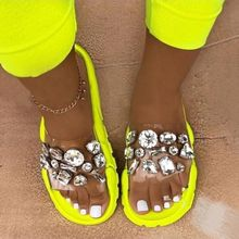 Sandals Women Summer Crystal Slides Glitter Slippers Ladies Rhinestone Female Diamond Flat Shoes Sandels Sandalias Mujer 2021