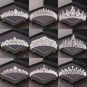Rhinestone Crown Headpiece Hair-Accessories Tiara Wedding Bridal-Tiara Silver-Color Women