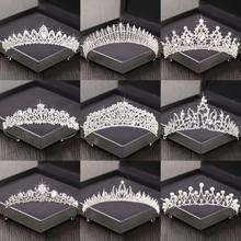 Prata cor strass coroa e tiara casamento acessórios de cabelo para mulheres tiara nupcial coroa de cabelo casamento headpiece