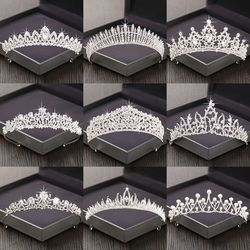 Silver Color Rhinestone Crown and Tiara Wedding Hair Accessories For Women Bridal Tiara Hair Crown Wedding Crown Headpiece