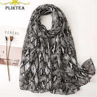 Luxury Brand Unique Designer Printed Snake Spring Scarves for Women Animal Cotton Linen Shawl Winter Female Hijab Scarf Cachecol