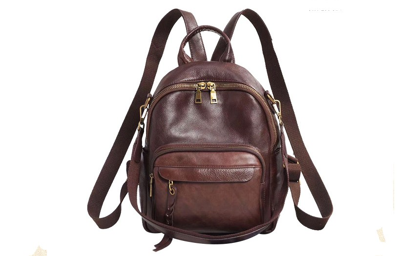 Vintage Cow Leather Women Small Backpack Teenager School Bags High Quality