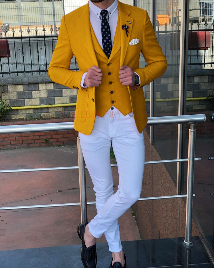 ANNIEBRITNEY Ginger Yellow Casual Man Suit Custom Made Slim Blazer With Pants Groom Wedding Tuxedo New Designs Mens Suits 2019
