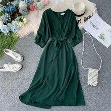 Novas mulheres casual longo robe moda verão com decote em v sexy com cinto bandagem vestidos das senhoras do vintage vestido verde coreano mujer