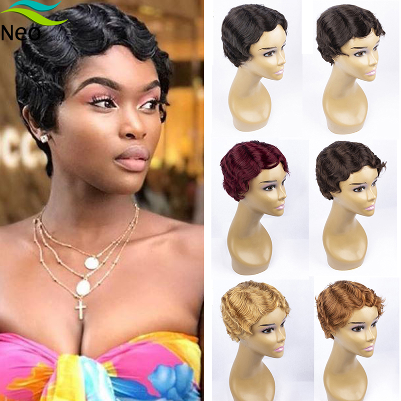 Cheap Human Hair Wigs Finger Wave Short Wig Pixie Cut Machine Human Hair Wigs For Black Women #1B #2 #4 #30 #27 #99j For Summer