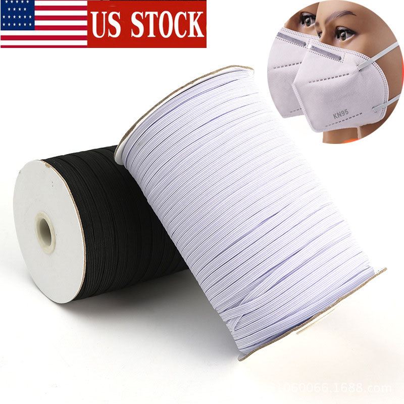 In Stock 200Yards Braided Elastic Band Cord Knit Band Sewing 1/4 1/8 3mm 6mm <font><b>Ship</b></font> in 24h 3mm 6mm 100 yards 200 Yards image