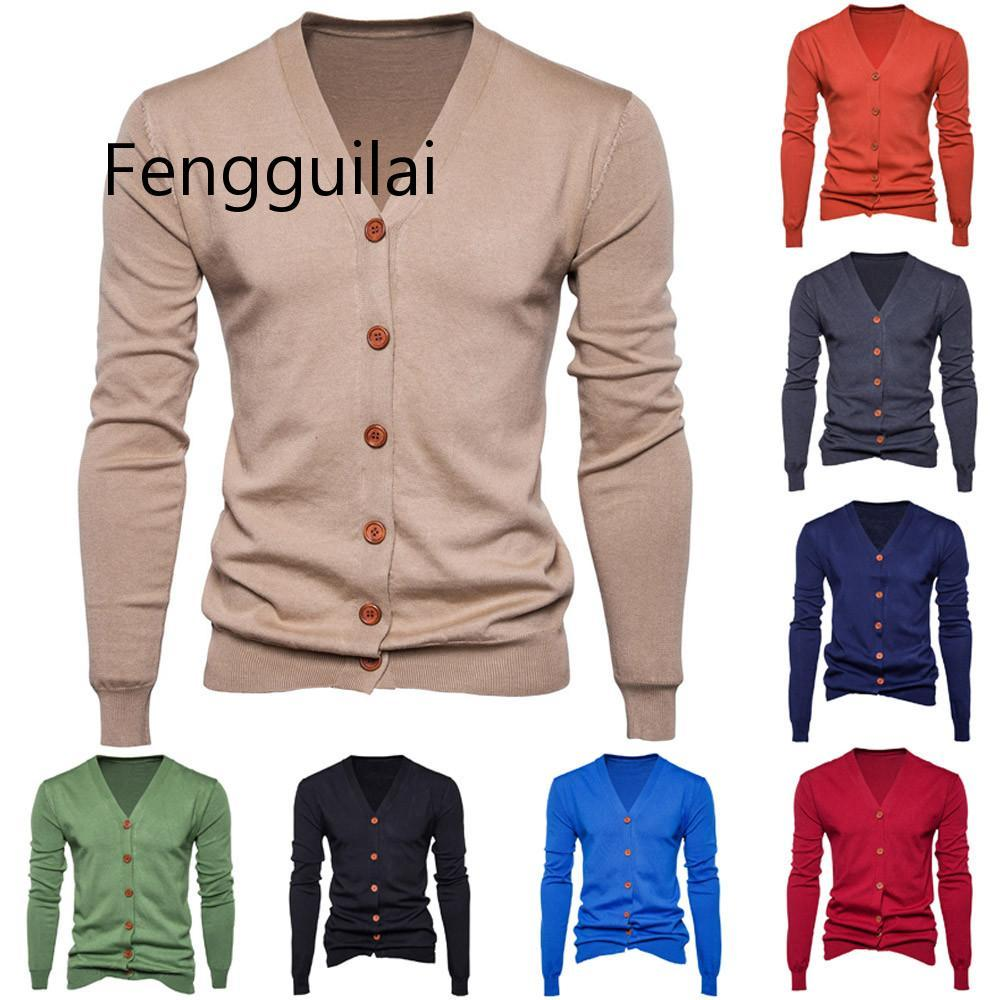 Autumn Men Sweater Casual Button V-neck Sweaters Long Sleeve Cotton Knit Cardigan Slim Fit Pull Homme Multicolor