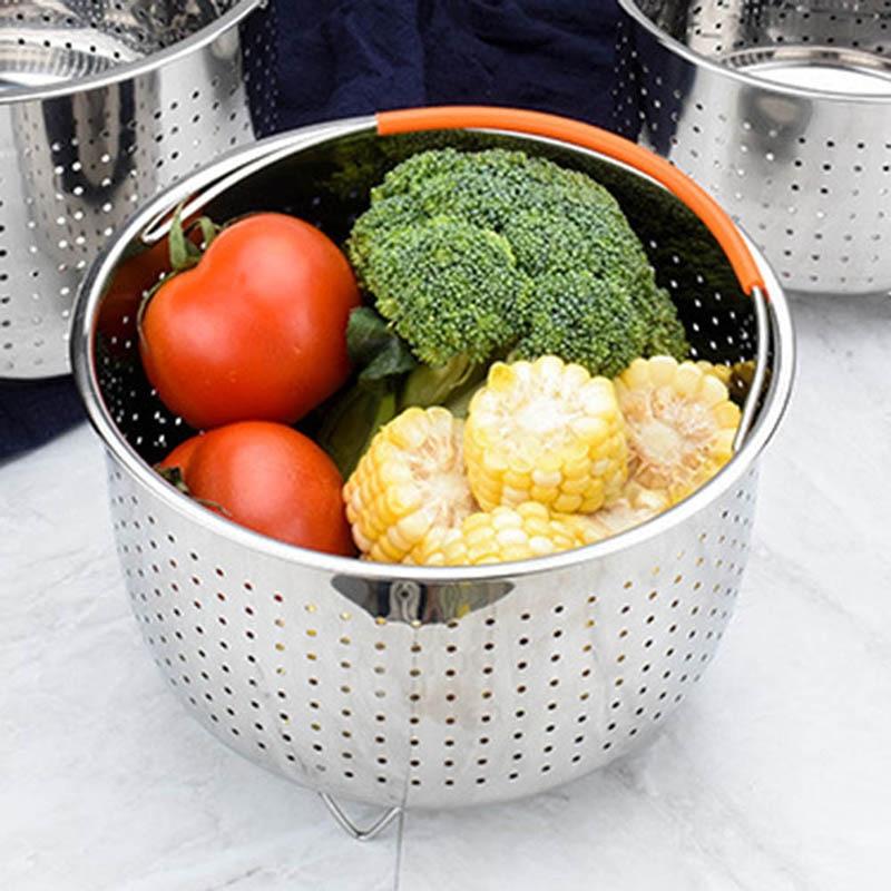 HOT Stainless Steel Steamer Basket Vegetable Drain Basket Pressure Cooker Home Kitchen Tool TI99