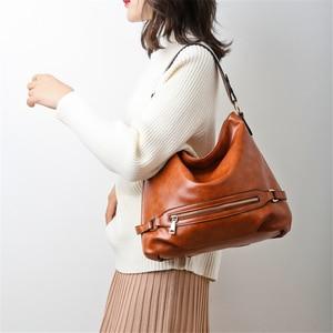 Image 2 - Vintage Bolsas Oil Leather Handbags Ladies Hand Bags for Women 2019 Luxury Handbags Women Bags Designer Casual Tote Sac A Main