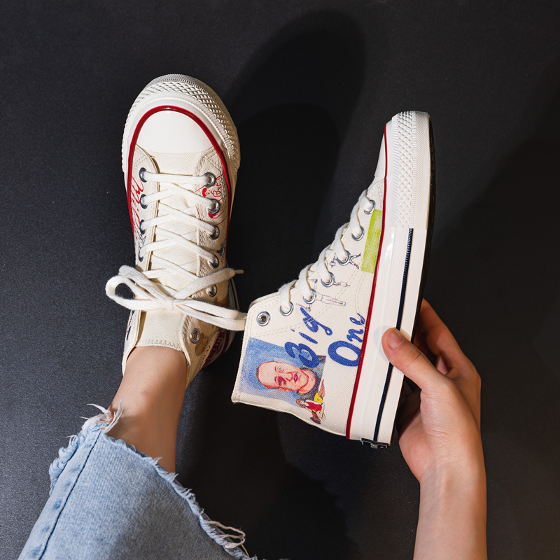 Students All-match Graffiti High-Top Skateboard Shoe Fashion Stylish Sneakers Girls Women Casual Shoes Spring Cloth Flats White