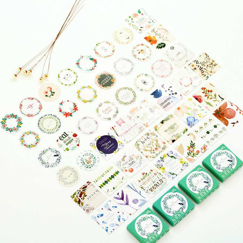45 unids/set pegatinas de papel Kawaii decoración de diario Etiqueta de Scrapbooking sello de la cuenta de mano pegatina de papelería flor pegatina de planta