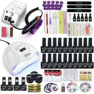 Image 2 - Jel tırnak seti 80W UV LED tırnak lambası isteğe bağlı 20/10 renk jel lehçe taban pardösü uzatma jel elektrikli tırnak matkap kiti