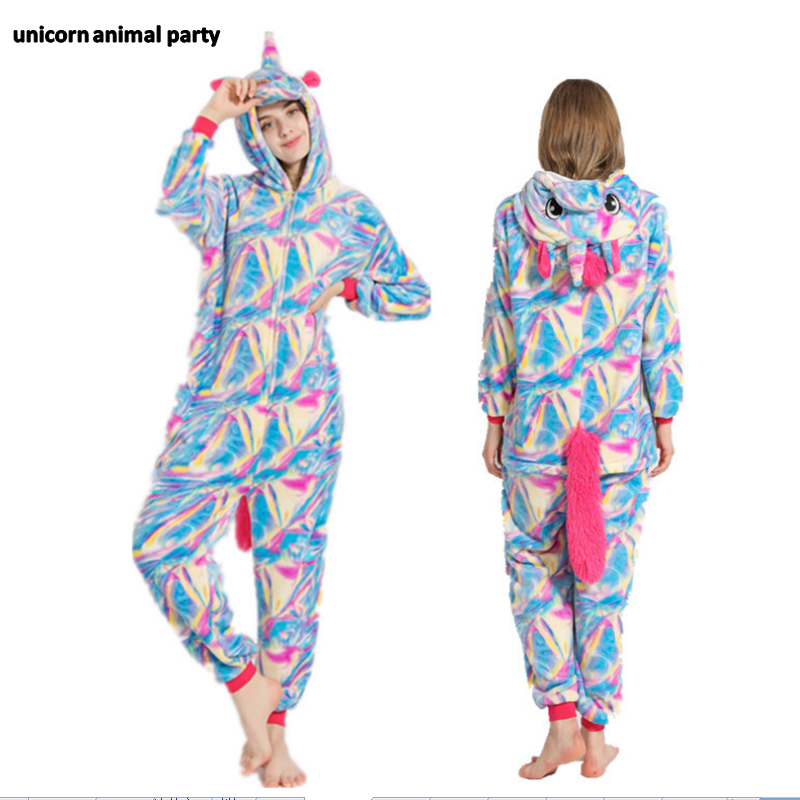 Kigurumi Colorful Unicorn Pegasus Adult Pajamas Onesies Animal Christmas Carnival Costume Hoodie Pyjamas Cosplay