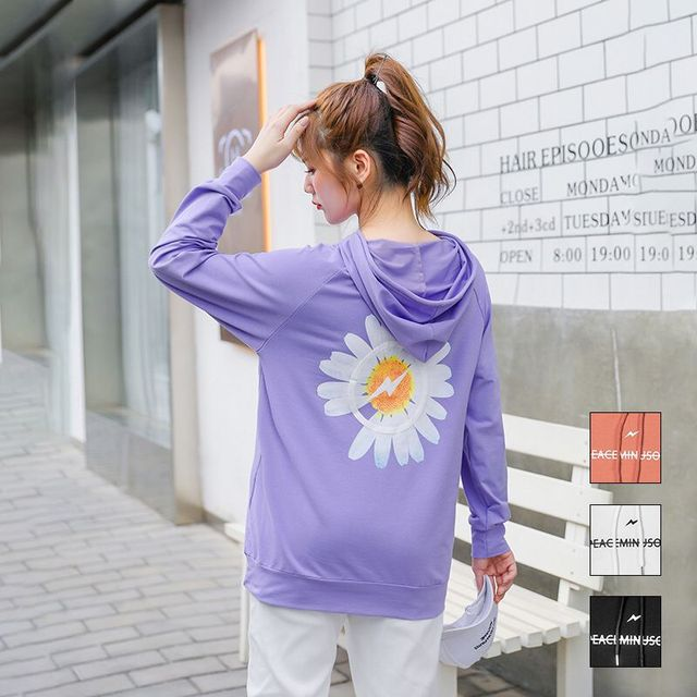 2020 spring new large size women fat mm loose casual hooded cartoon printed sweater coat