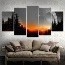 Modular Canvas Pictures Wall Art Framed 5 Pieces Star Wars Tree Death Star Painting Living Room Prints Movie Poster Home Decor(China)