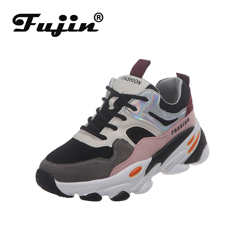 Fujin Sneakers Women Spring Autumn Fashion Thick Bottom Dropshipping Breathable Cross Tied Mixed Colors Leisure Women Shoes