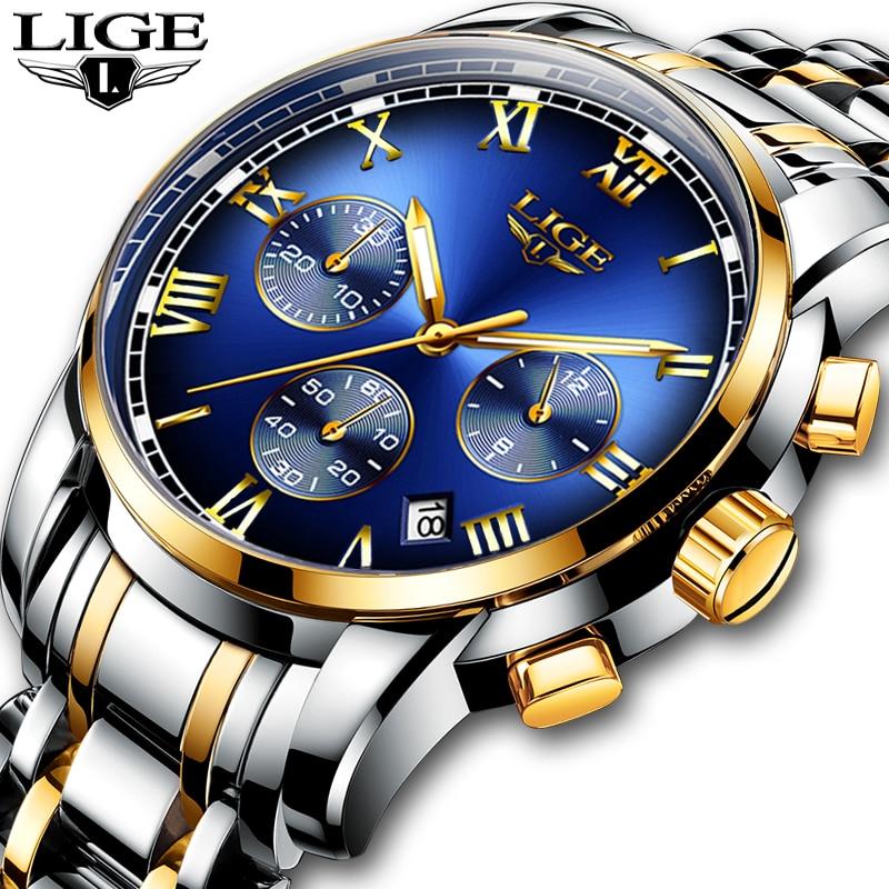 Relogio Masculino Mens Watches LIGE Top Brand Luxury Chronograph Fashion Watch Men Business Waterproof Full Steel Quartz Watch|Quartz Watches| |  - title=