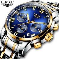 Relogio masculino dos homens relógios lige topo marca de luxo cronógrafo relógio moda homem negócios à prova dwaterproof água aço completo relógio de quartzo