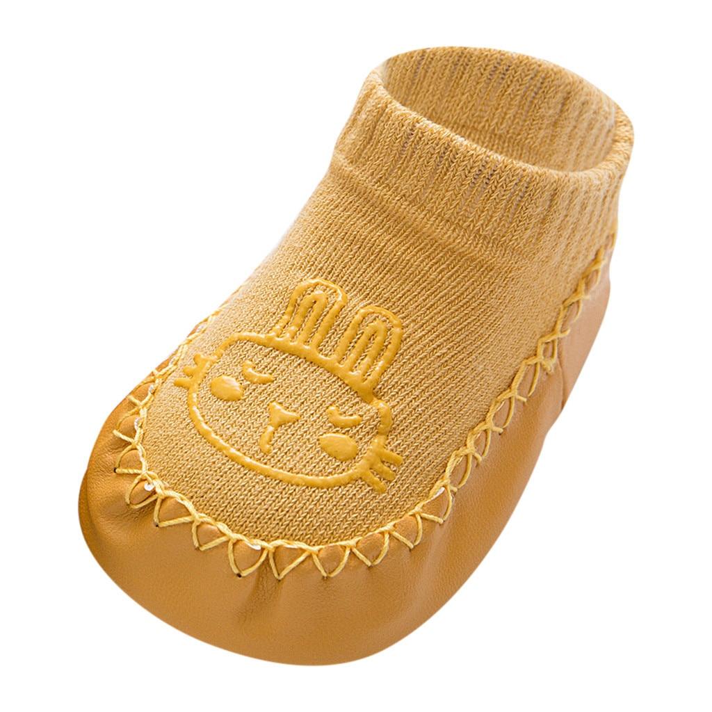 Милые теплые носки-тапочки с героями мультфильмов для новорожденных мальчиков и девочек Нескользящие носки для малышей гетры, детские гольфы, зимние носки для малышей - Цвет: F