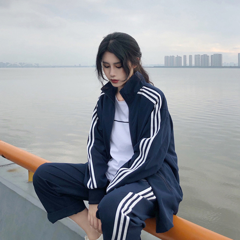2019 Fall New Sports Suit Women Foreign Clothing Trousers Leisure Two-piece Set Turtleneck Zipper Casual Two Piece Set