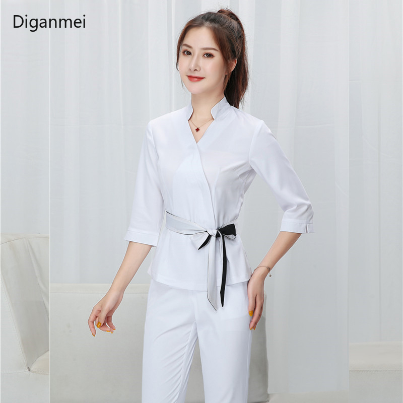 Women White Beauty Salon Clothing Hotel Waiter Work Clothes SPA Uniform Autumn Seven-quarter Sleeve Sauna Foot Bath Uniforms