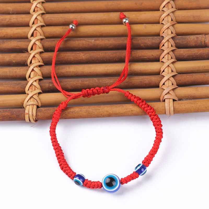 Lucky สีแดงสร้อยข้อมือเชือกลวดสีฟ้าตุรกี Evil Eye Charm สำหรับสาวเด็กเครื่องประดับเชือกถัก