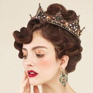 Image 2 - Forseven jóias de cabelo nupcial cheia círculo contas pérola tiaras coroas diadem headpiece feminino casamento acessórios para cabelo jl