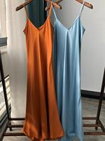 100% Silk Slip Dress Women Summer Sleeveless Sexy Midi Dress French Style Long Dress