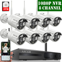 【2019 Update】 AJCAM 8-Channel HD 1080P Outdoor Wireless Security Camera System,8Pcs 2.0 Megapixel Wireless Indoor/Outdoor Camera