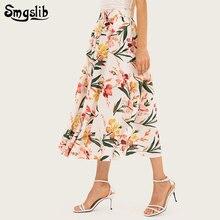купить 2019 Fashion Tide New Spring Autumn skirt elegant sweet englant style floral ankle-length A-line plus size s-2xl дешево