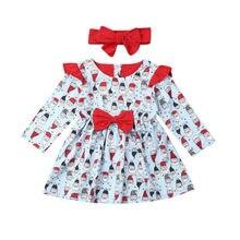 Christmas Dress Kids Baby Girl Xmas Long Sleeve Party Santa Tutu Dress+Headband Outfit Girl Dress стоимость