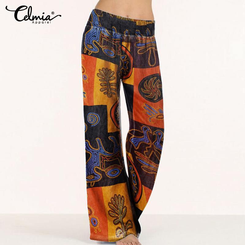 Plus Size Celmia Women Retro Printed   Wide     Leg     Pants   Casual Loose Long Palazzo Trousers 2019 Autumn High Waist Pantalon Femme 5XL