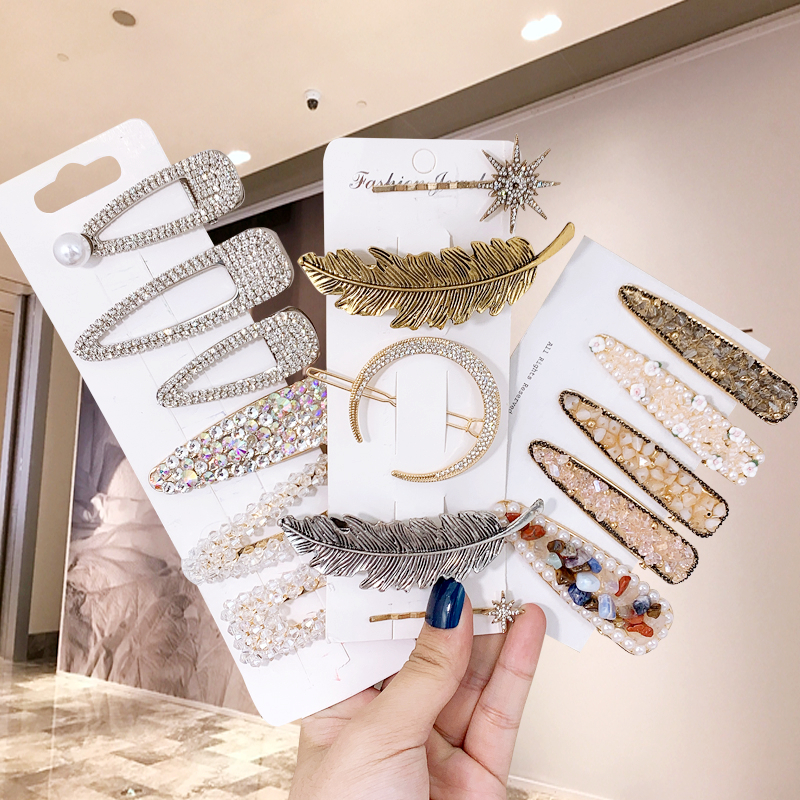 1Set Popular New Rhinestone Hair Clips Fashionable Woman Hair Accessories Hairpins BB Clip Styling Tools Barrettes Headwear