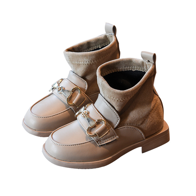 2019 Autumn Spring Fashion Shoes For Girls Little Girls Flock Boots Slip-on Todder Girls Leather Boots Kid Anlke Boot Khaki Nice