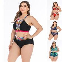Baskı çiçek Bikini artı boyutu L 4XL mayo kadınlar Halter Bikini Set 2019 yüksek bel büyük boy mayo kadınlar büyük boyutu