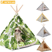 RFWCAK Pet Tent Dog Beds Cat Toy House Portable Washable Mat Kitten Bed Kattenmand Bull Terrier Kennel Puppy Pet Teepee With Pad(China)