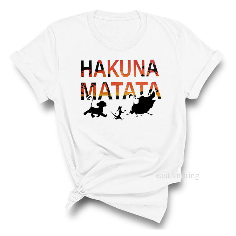 <font><b>Hakuna</b></font> <font><b>Matata</b></font> meaning World Shirt Women Harajuku <font><b>Lion</b></font> <font><b>King</b></font> T Shirt Fashion Top Tee Female Clothing image
