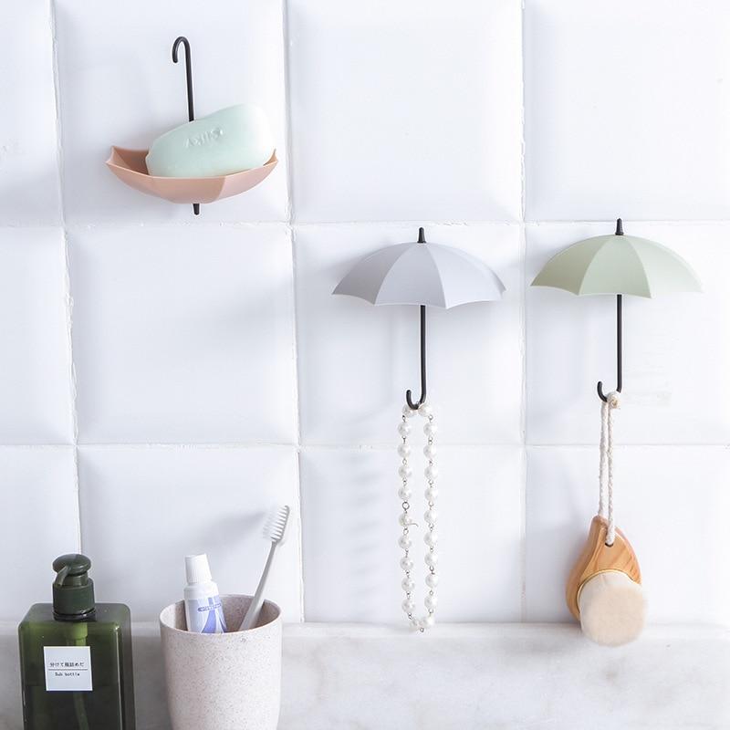 3pcs/lot Umbrella Shaped Creative Key Hanger Rack Home Decorative Holder Wall Hook For Kitchen Bathroom Accessories