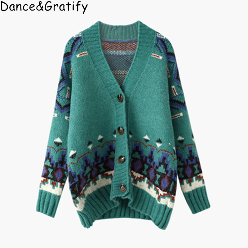 Women Vintage Sweater Cardigans Casual Knit Ponchoes Single Breated Oversized Loose Jacket Knit Coat Jumper