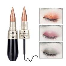 Профессиональный двусторонний тени для век черный подводка для глаз ручка мерцание смоки глаза макияж