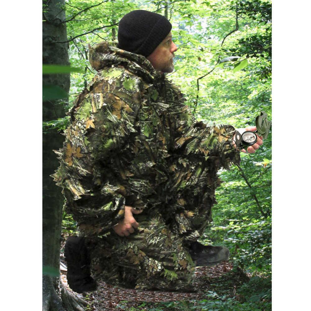 Охотничий маскировочный костюм 3D бионический камуфляж лист льняная охотничья одежда камуфляж джунгли лесные наблюдения за птицами пончо охотничья одежда
