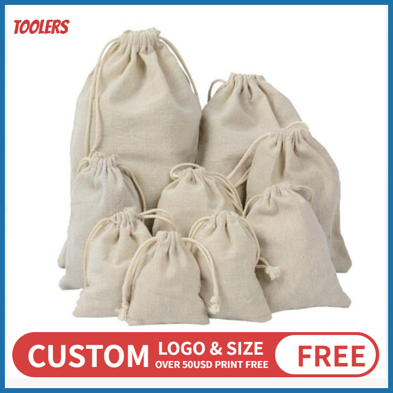 7x9 /9x12 /10x15 /15x20cm 100% Cotton Linen Drawstring Bag Beans Beads Toys Eco-friendly Products Packaging Bags Custom Logo
