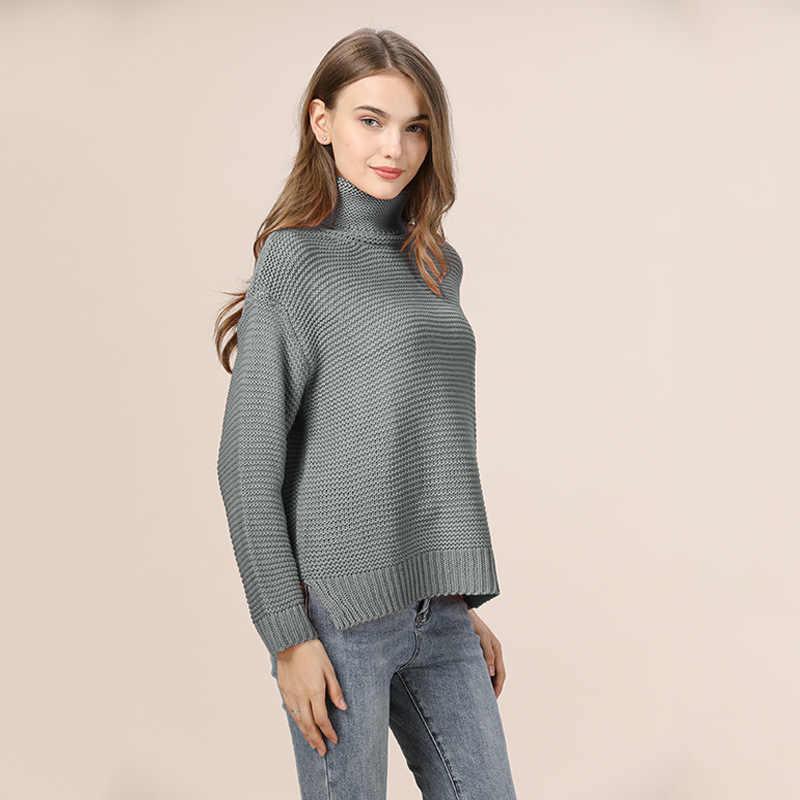 캐주얼 느슨한 가을 터틀넥 스웨터 여성 2020 특대 솔리드 니트 스웨터 따뜻한 긴 소매 풀오버 스웨터 블랙 그린