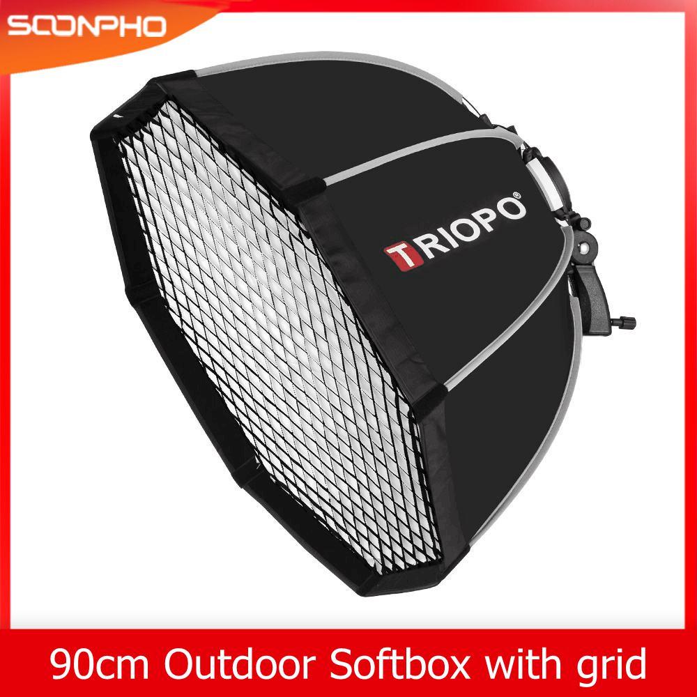 Triopo KS90 90cm Speedlite Portable Octagon Umbrella Softbox With Honeycomb Grid Outdoor Flash Soft Box For Godox
