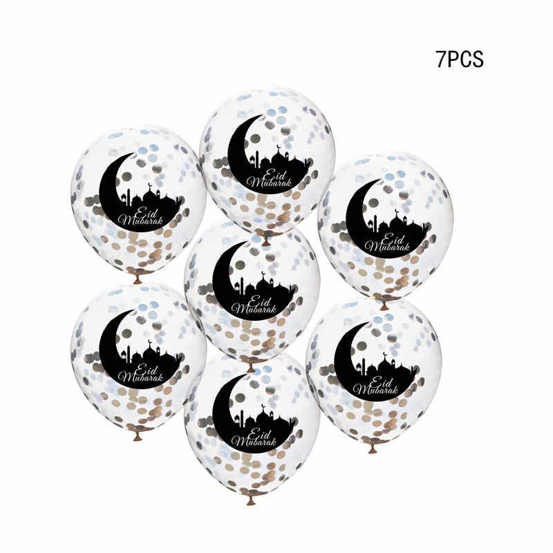 10 Uds. Globos de confeti Eid Mubarak, globo Eid, decoración del Festival musulmán del Ramadán feliz, suministros para Eid