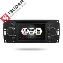 Isudar samochodowy odtwarzacz multimedialny android 7.1.1 5 Cal dla chryslera/300C/Dodge/Jeep/dowódca/kompas/Grand Cherokee Radio GPS DVD